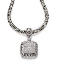 John Hardy - Metallic Classic Chain Diamond & Sterling Silver Medium Square Pendant - Lyst
