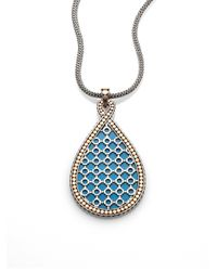 John Hardy - Blue Turquoise Sterling Silver and 18k Yellow Gold Necklace - Lyst