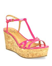 200ab2ff3bf8 Lyst - Kate Spade New York Theodora Pink Patent Leather Cork Wedge ...