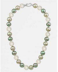 Majorica White Pearl Necklace, Sterling Silver Multicolor Organic Man Made Pearls