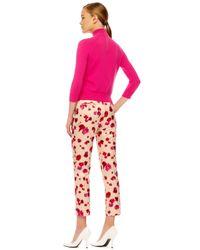Michael Kors - Pink Cropped Floralprint Pants - Lyst