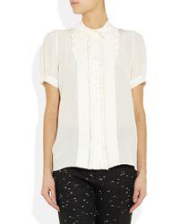 Miu Miu White Ruffled Silk Shirt