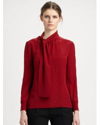 ae943798363ab6 Lyst - Saint Laurent Silk Tie Neck Blouse in Red