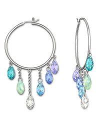 Swarovski Metallic Tonality Silver-tone Crystal Hoop Earrings
