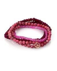 Sydney Evan Diamond Pink Sapphire And Rhodonite Bracelet