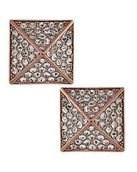Vince Camuto - Pink Rose Gold Tone Crystal Pyramid Stud Earrings - Lyst