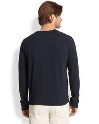 Vince - Blue Slub Knit Raglan Shirt for Men - Lyst
