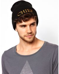 ASOS Black Beanie with Chief Logo for men