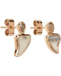 Dezso by Sara Beltran Metallic Diamond Shark Tooth Stud Earrings