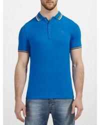 DIESEL Blue Tnyx Stripe Collar Polo Shirt for men