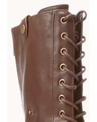 Forever 21 - Brown Foldover Combat Boots - Lyst