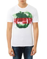 Gucci | White Watercolour Logoprint Tshirt | Lyst