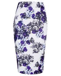 Jigsaw Purple Toile De Jouy Print Skirt