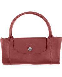 Longchamp Red Le Pliage Cuir Medium Handbag in Rouge