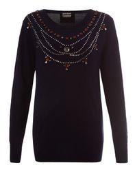 Markus Lupfer | Blue Navy Jewelled Necklace Merino Jumper | Lyst