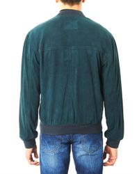 McQ Green Suede Bomber Jacket for men