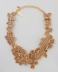 Oscar de la Renta | Metallic Antiqued Lace Bib Necklace | Lyst