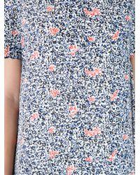 Balenciaga Blue Micro Flower Print Dress
