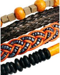 G-Star RAW Orange Asos Bracelet Pack with Plaited Beads for men