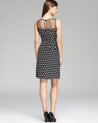 Adrianna Papell Black Polka Dot Fit and Flare Dress Sleeveless Illusion Neck