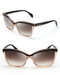 Alexander McQueen Black Two Tone Cat Eye Sunglasses