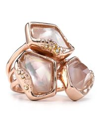 Alexis Bittar | Pink Liquid Gold Molten Stacked Ring | Lyst