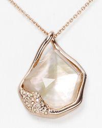 Alexis Bittar White Liquid Rose Gold Molten Pendant Necklace 16