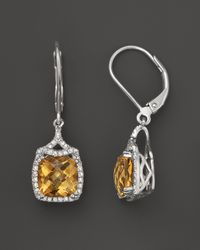 Badgley Mischka - Metallic Citrine and Diamond Earrings in Sterling Silver 38 Ct Tw - Lyst
