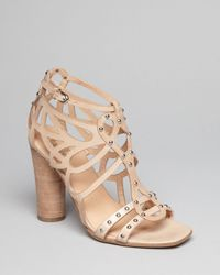 Belle By Sigerson Morrison Natural Studded Sandals Ola High Heel