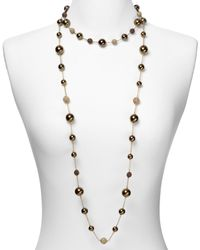 Carolee Metallic Chocolate Pearl and Gold Fireball Long Illusion Necklace 42