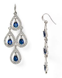 Carolee | Blue Pave Pear Chandelier Earrings | Lyst