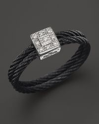Charriol | Black Celtic Noir Collection Nautical Cable Ring with Diamonds 05 Ct Tw | Lyst