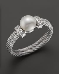 Charriol Gray Stainless Steel Classique Pearl Ring with Diamonds 005 Ct Tw