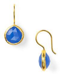 Coralia Leets Deep Blue Chalcedony Mini French Wire Earrings