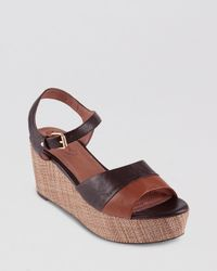 Corso Como Brown Platform Wedge Sandals Naan