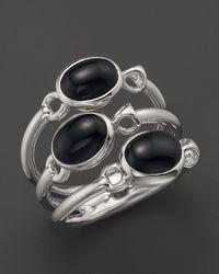 Di Modolo - Metallic Rhodium Onyx Triple Stone Small Ring - Lyst