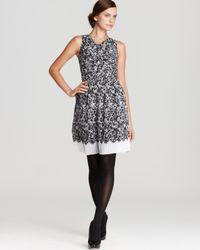 DKNY Black Audrey Lace Print Pleated V Neck Dress