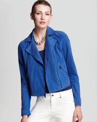 DKNY Blue Cropped Motorcycle Jacket