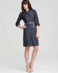 Eileen Fisher Blue Mandarin Collar Dress