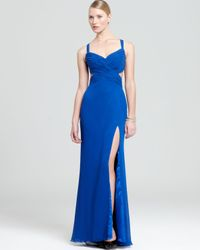 Faviana Couture Blue Faviana Gown - Ruched Bodice Open Back