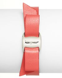 Ferragamo | Pink Leather Vara Single Wrap Bracelet | Lyst