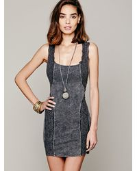 Free People Black Washed French Terry Lace Bodycon