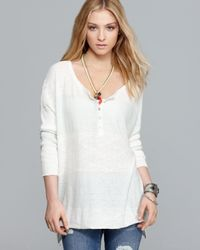 Free People White Top Marly Yarn Gold Rush Henley