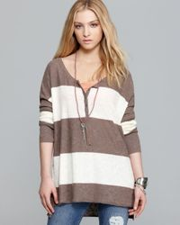 Free People Brown Top Marly Yarn Gold Rush Henley