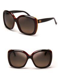 Gucci Brown Oversized Colorblock Stripe Sunglasses