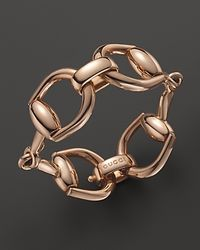 Gucci - Metallic 18k Rose Gold Horsebit Link Bracelet - Lyst