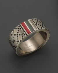 Gucci Metallic Aged Sterling Silver and Enamel Diamantissima Motif 8mm Ring for men