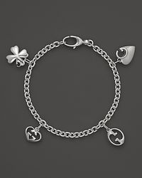 Gucci Metallic Sterling Silver Charm Bracelet