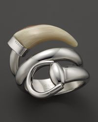 Gucci Metallic Horsebit Contraire Ring with White Horn