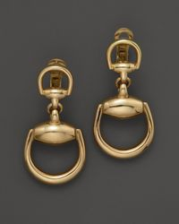 Gucci | Metallic Small Horsebit Earrings in 18k Yellow Gold | Lyst